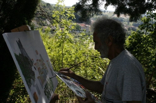 Landschaftsmaler malt