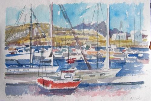 Aquarell: Hafen Bodö