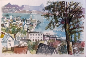 Aquarell: Molde, Norwegen