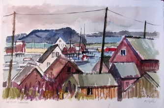 Aquarell: Saetervika, Norwegen