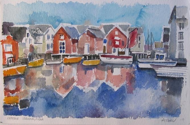 Aquarell: Vadholmen, Norwegen