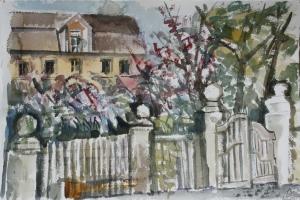 Aquarell: Altes Gartentor in Neuhof