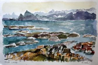 Aquarell: Lovund, Norwegen