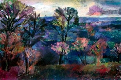 Ölbild: Blaue Landschaft