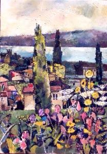 Ölbild: Blumen am See