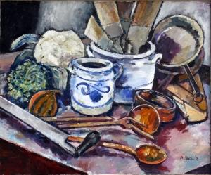 Küchenutensilien und Blumenkohl