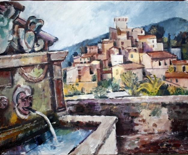Ölbild: Brunnen bei Arcidosso