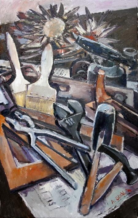 Ölbild: Werkzeug und Artischocken, 2014
