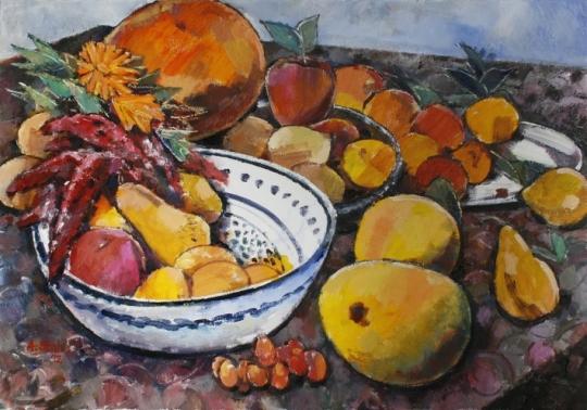 Ölbild: Fülle der Früchte und Farben