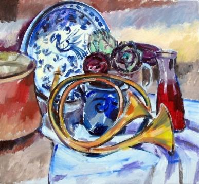 Ölbild: Stilleben mit Hörnern