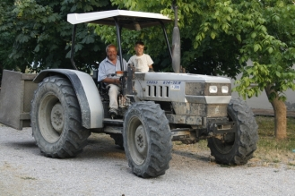 Traktor mit Opa und Enkel