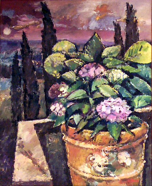 Ölbild: Hortensien