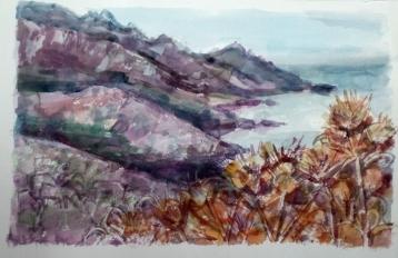 Disteln vor Küstenlandschaft (Aquarell)