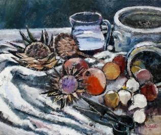 Stachlige Artischocken, Früchte und Pötte