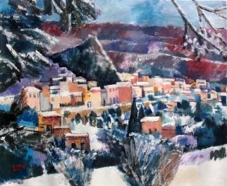 Ölbild: Roccalbegna bei Schnee, Privatbesitz