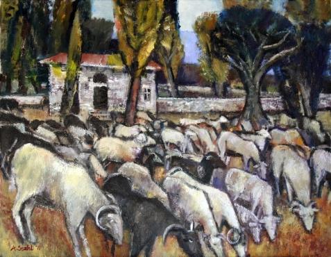 Ölbild: Schafe