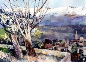 Ölbild: Schnee auf den Bergen, Privatbesitz