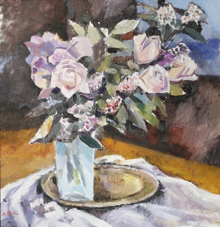 Ölbild: Stillleben mit weißen Rosen
