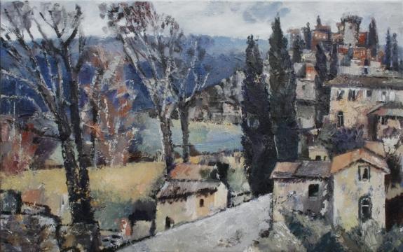 Ölbild: Toskanisches Städtchen im Herbst