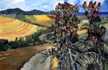 Ölbild: Große Disteln im Hügelland
