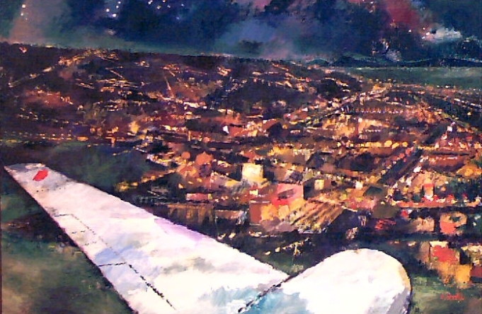 Ölbild: Die Landung bei Nacht