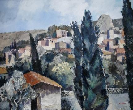 Ölbild: Roccalbegna, Häuser und Natur