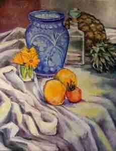 Foto Ölbild blaue Vase