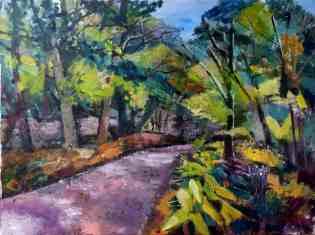Ölbild Straße im Wald